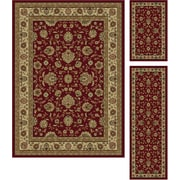 Elegance 5140 Red Traditional Area Rugs, 3-Piece Set