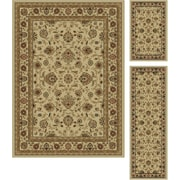 Elegance 5142 Beige Traditional Area Rugs, 3-Piece Set
