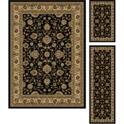 Elegance 5143 Black Traditional Area Rugs, 3-Piece Set