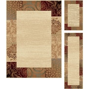 Elegance 5202 Beige Transitional Area Rugs, 3-Piece Set