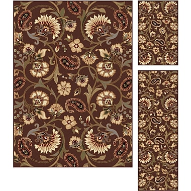 Elegance 5328 Brown Transitional Area Rugs, 3-Piece Set