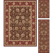 Elegance 5338 Brown 3 Piece Rugs Set Transitional Area Rugs