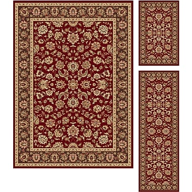 Elegance 5370 Red 3 Piece Rugs Set Traditional Area Rugs
