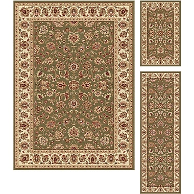 Elegance 5375 Green 3 Piece Rugs Set Traditional Area Rugs
