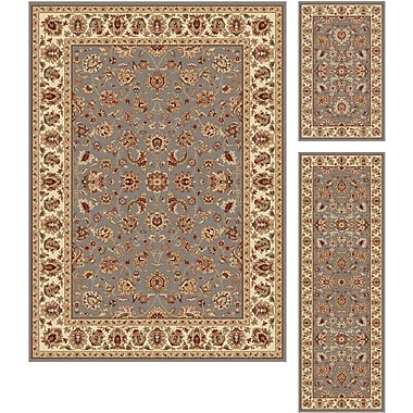 Elegance 5377 Blue 3 Piece Rugs Set Traditional Area Rugs