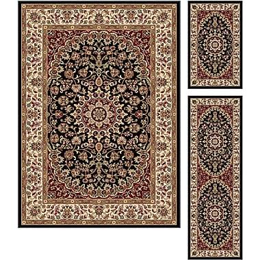 Elegance 5393 Black 3 Piece Rugs Set Transitional Area Rugs