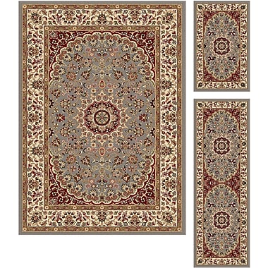 Elegance 5396 Blue 3 Piece Rugs Set Transitional Area Rugs