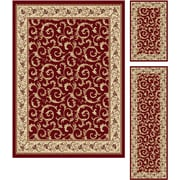 Elegance 5400 Red 3 Piece Rugs Set Transitional Area Rugs