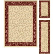Elegance 5402 Beige 3 Piece Rugs Set Transitional Area Rugs