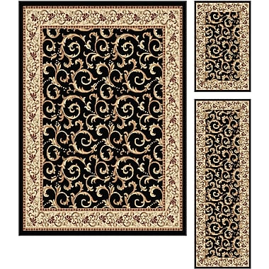 Elegance 5403 Black 3 Piece Rugs Set Transitional Area Rugs
