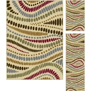 Laguna 4512 Beige 3 Pc. Set Contemporary Area Rugs