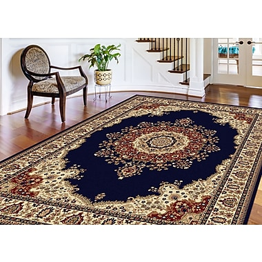 Sensation 4707 Navy Blue Traditional Area Rugs