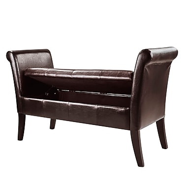 CorLiving Antonio Bench with Rolled Arms, Bonded Leather, Dark Brown (LAD-520-O)
