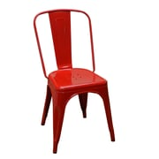 DHC Furniture Stackable Steel Side Chair; Red
