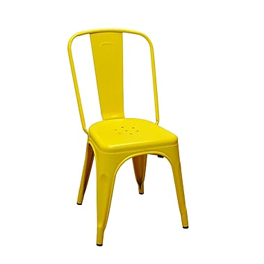DHC Furniture Stackable Steel Side Chair; Yellow
