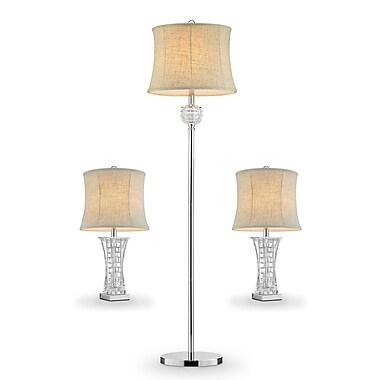 OK Lighting Lunette 3 Piece Table and Floor Lamp Set
