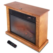 Della 1500 Watt Deluxe Infrared Quartz Heater Flame Wood Log Caster Fireplace; Honey Oak
