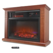 Della 1500 Watt Deluxe Infrared Quartz Heater Flame Wood Log Caster Fireplace; Walnut