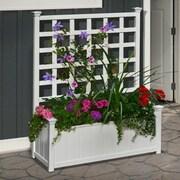 New England Arbors Huron Plastic Planter Box w/ Trellis