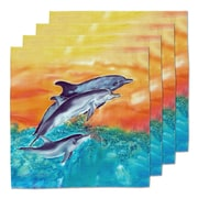 Live Free Dolphins Fabric Coaster (Set of 4)