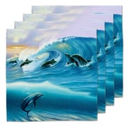 Live Free Surfing Dolphins Fabric Coaster (Set of 4)