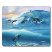 Live Free Surfing Dolphins Glass Cutting Board