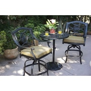 Alcott Hill Thompsontown 3 Piece Counter Height Bar Set w/ Cushions by