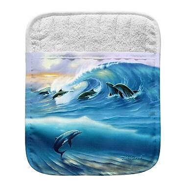 Live Free Surfing Dolphins Pocket Mitt Potholder (Set of 2)