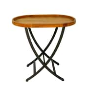 Jeco Inc. Wooden Round Folding Tray Table