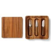 Fox Run Craftsmen 4 Piece Wood Cheese Board and Knife Set