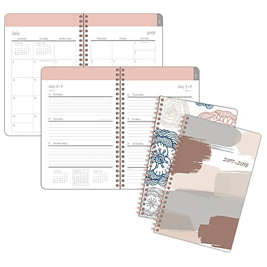 Staples® Sketch Medallian/Brush Stroke Weekly/Monthly Planner, 5-1/2