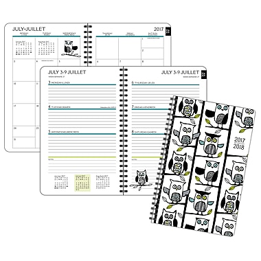 Staples® 2017/2018 Owls Weekly/Monthly Poly Fashion Planner, 5-1/2