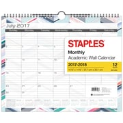 Staples – Calendrier mural à motif triangle/chevron, 15 po x 12 po, anglais