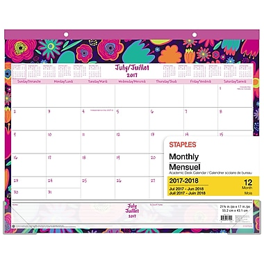 Staples 2017/2018 Floral Large Desk Pad, 22