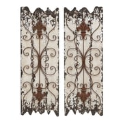 Benzara Wall Sculpture, 32x11x1 Inches, Ivory & Brown, 2/Pack