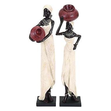 Benzara Ladies Figurine, 16x4x3 Inches, Black, 2/Pack