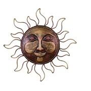 Benzara Sun Face Decor, 16x16x1 Inches, Bronze