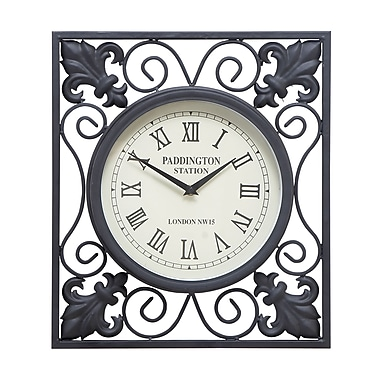 Benzara Wall Clock, 16x14x2 Inches, Black