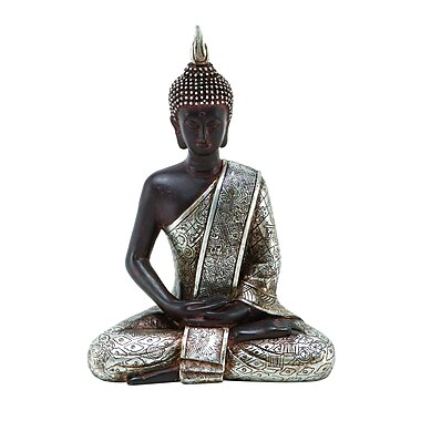 Benzara Buddha Statue, 8x6x4 Inches, Black & Silver