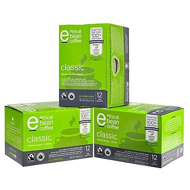 Dosettes de café compostables à 100 %, grains équitables, torréfaction moyenne classique, 36 dosettes