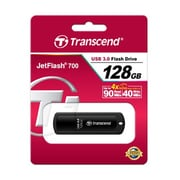 Transcend JetFlash® 700 USB 3.0 Flash Drive, 128GB, Black (TS128GJF700)