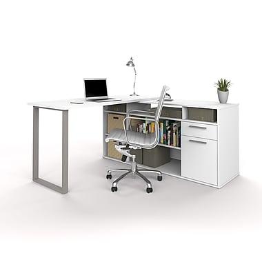 Bestar – Bureau en L Solay avec classeur et bibliothèque sur le côté, blanc (29851-17)
