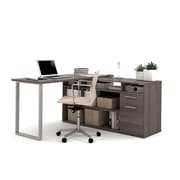 Bestar Solay L-Shaped Desk with Lateral File & Bookcase, Bark Grey (29851-47)