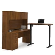 Bestar Embassy L-Shaped Desk with Hutch & Electric Height-Adjustable Table