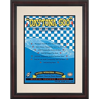 Mounted Memories NASCAR Daytona 500 Program Framed Vintage Advertisement; 3rd Annual - 1961