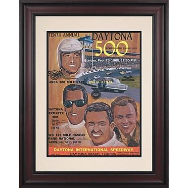 Mounted Memories NASCAR Daytona 500 Program Framed Vintage Advertisement; 10th Annual - 1968