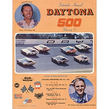Mounted Memories NASCAR Daytona 500 Program Vintage Advertisement on Canvas; 16th Annual - 1974