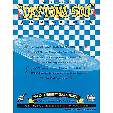 Mounted Memories NASCAR Daytona 500 Program Vintage Advertisement on Canvas; 3rd Annual - 1961