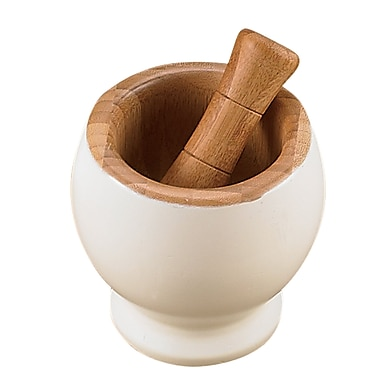 Creative Home Bamboo Mortar and Pestle; Off White