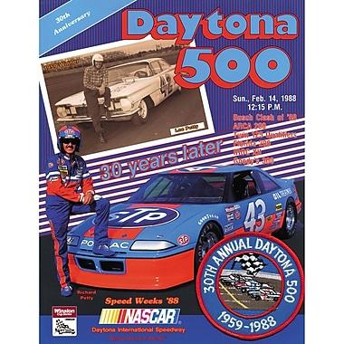 Mounted Memories NASCAR Daytona 500 Program Vintage Advertisement on Canvas; 30th Annual - 1988